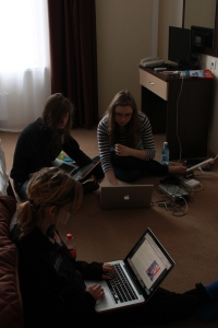 Sarah, Cassie and Ashley hard at work on their respective projects.